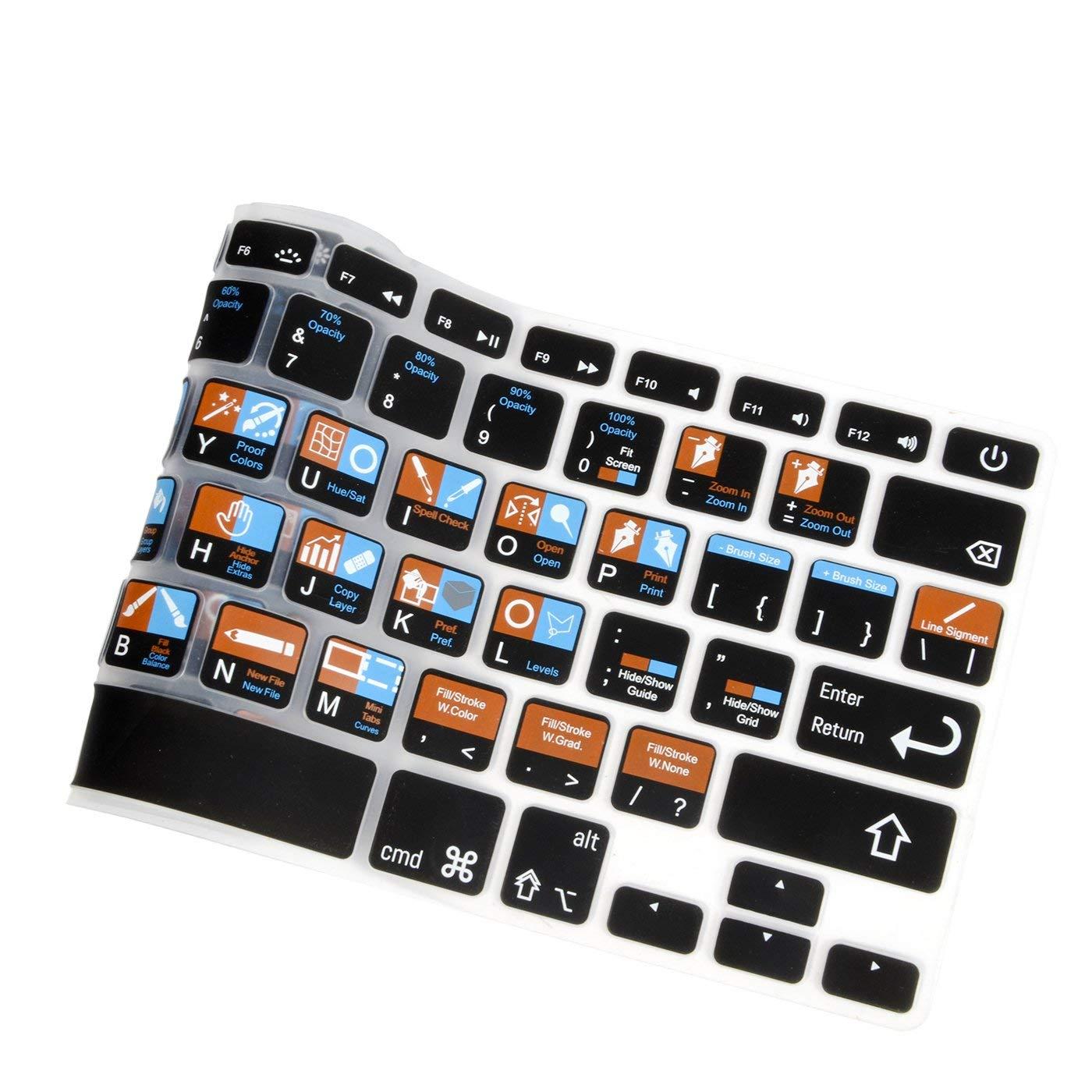 for MacBook Pro Air Retina 13 A1369 A1466 A1425 A1502 15 17 A1278 Silver Shortcut Hotkeys Keyboard Skin Cover