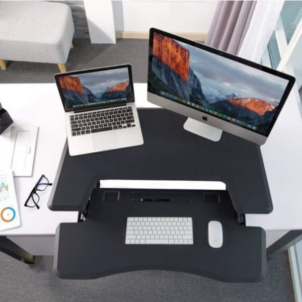 Ergonomically Adjustable Standing / Sitting Computer Stand Desk UP36 Black