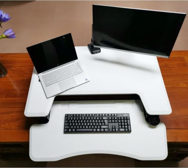 Ergonomically Adjustable Standing / Sitting Computer Stand Desk UP36 White